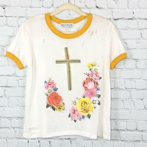 Wildfox Resurrection Ringer Floral Tee Shirt Small